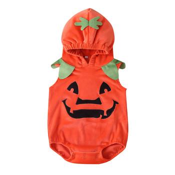 2020 noworodka pajacyki dla niemowląt chłopcy dziewczęta ubrania bez rękawów piękny Halloween dynia z kapturem moda wygodne body Romper tanie i dobre opinie TELOTUNY COTTON O-neck Swetry REGULAR Pasuje prawda na wymiar weź swój normalny rozmiar Bawełna czesana Płaszcz Cotton Blend
