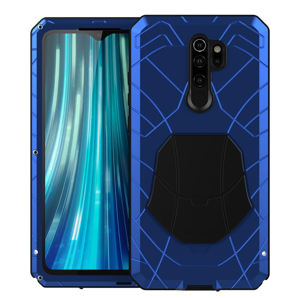 For Xiaomi Mi Redmi Note 8 Phone Case Hard Aluminum Metal Tempered Glass Screen Protector Heavy