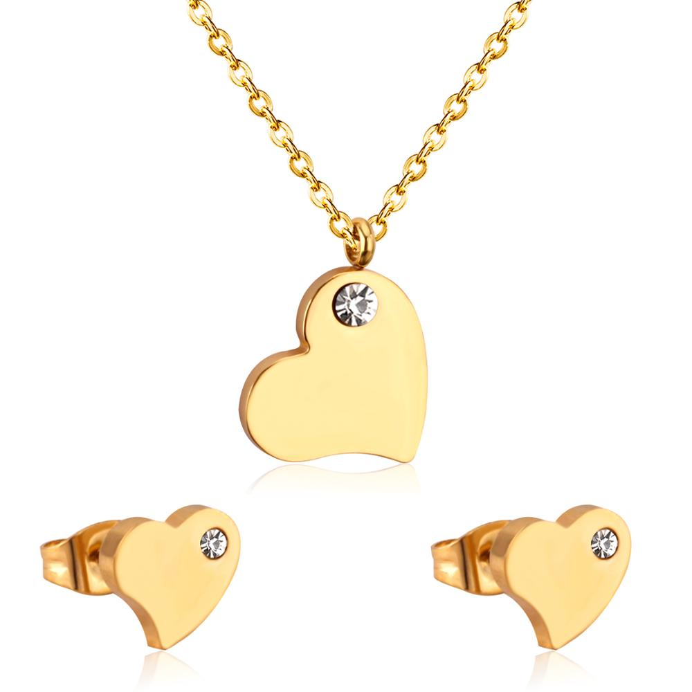 LUXUKISSKIDS Hot Selling Heart Shaped Pendant CZ Necklace And Earrings Set In Jewelry For Women With Free Chain