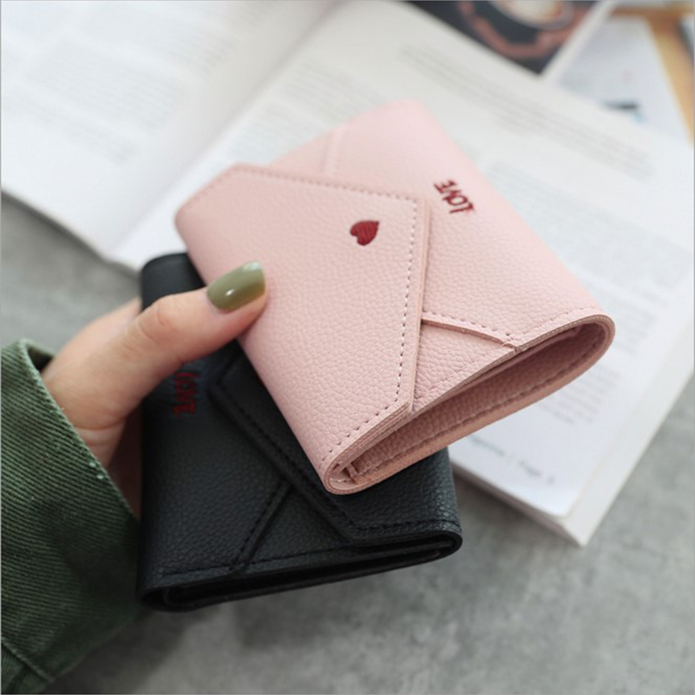 ISKYBOB 2019 New Women's Multi-function Wallet Love Heart-shaped Embroidery Line Lychee Pattern Simple Fashion Small Wallet