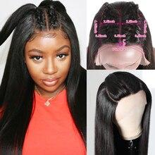 Парик на шнуровке с двойной U-образной частью, парик из прямых человеческих волос, средняя часть, боковая часть, три части, парик на шнуровке ...