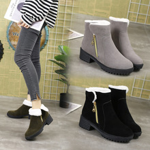 Discount Snow Boots Women Shoes Ankle Flock 2019 New Winter Boots Platform Plush Med (3cm-5cm) Fashion Zip Keep Warm Non-slip qijun glitter bling flip stand case for samsung galaxy a7 a 7 a700f 2016 a710 2017 a720 sm a720f wallet phone cover coque