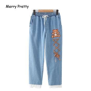 Merry Pretty Women Jeans Pants Cartoon Bear Embroidery Lace Up Denim Pants Elastic Waist Straight Pockets Jean Pants Mom Jeans