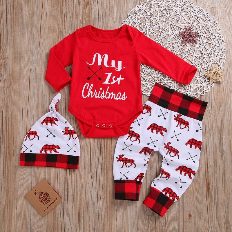 Schöne Kinder Baby Mädchen Junge Meine Erste Weihnachten Brief Strampler Hose Hut Outfits Weihnachten Set Herbst Kleidung