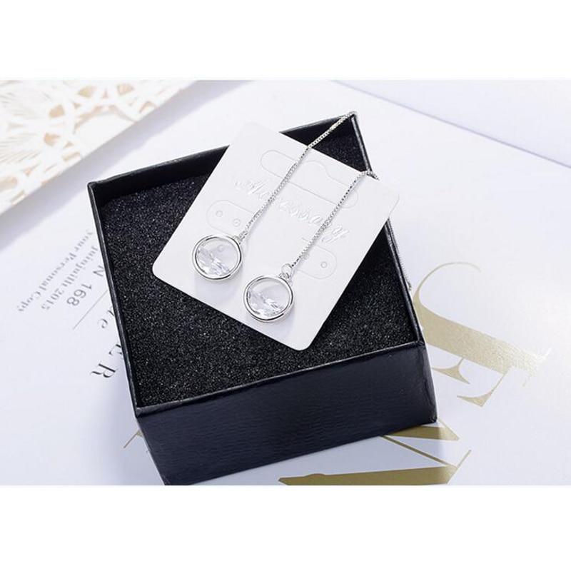 925 Sterling Silver Dazzling CZ Zircon Charm Earrings For Women Long Tassel Earrings Ear Line pendientes S-E492