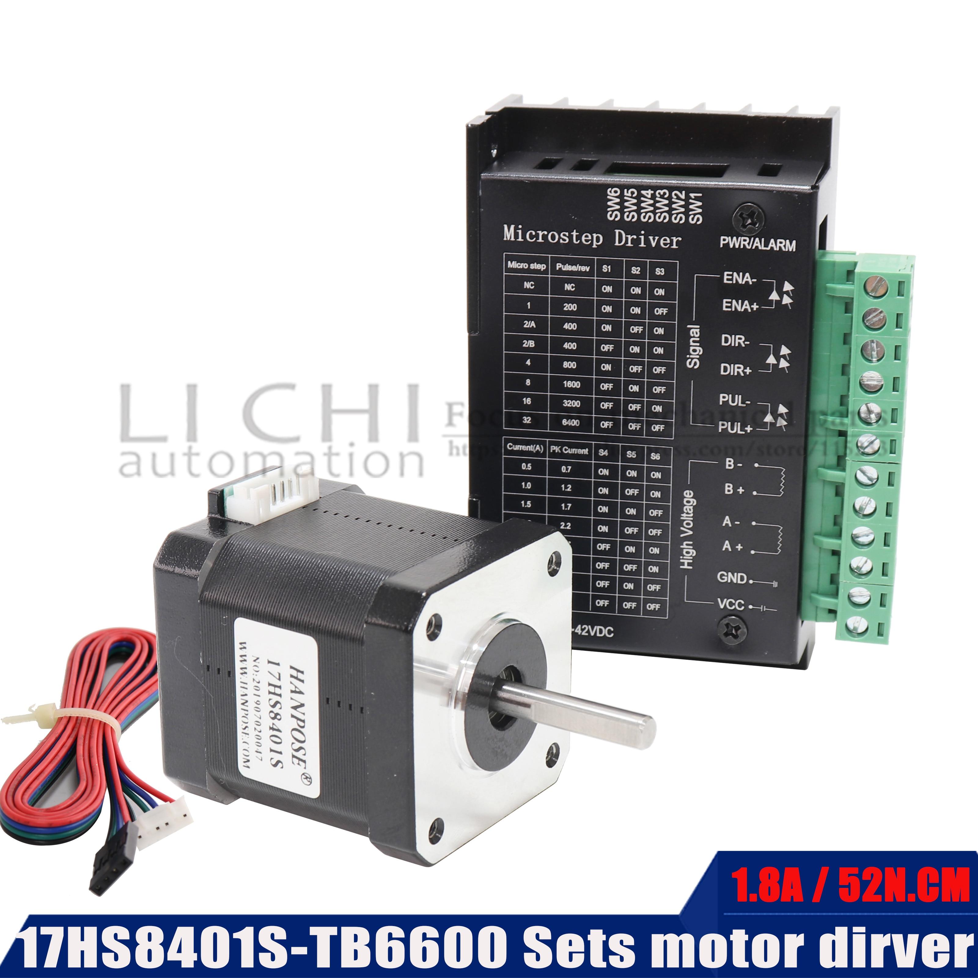 Nema17 1.8A (17HS8401)with TB6600 Stepper Motor 42 motor 52n.cm stepper motor driver 3D printer 4-lead