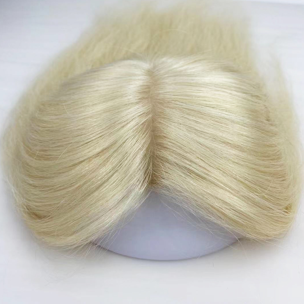Накладка из человеческих волос с зажимом, тонкий шиньон для белых женщин #613, Шелковый Топ блонд, невидимый парик из искусственной кожи вокру...
