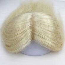 Perruque Fine en soie Blonde #613 pour femmes, postiche Invisible en PU autour du cuir chevelu