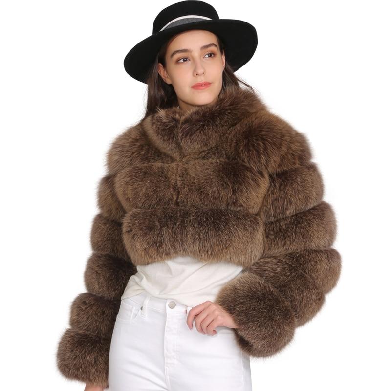 MAOMAOFUR réel manteau de fourrure de renard femme veste d'hiver en fourrure naturelle style court manches complètes manteau avec col dames véritable manteau de fourrure