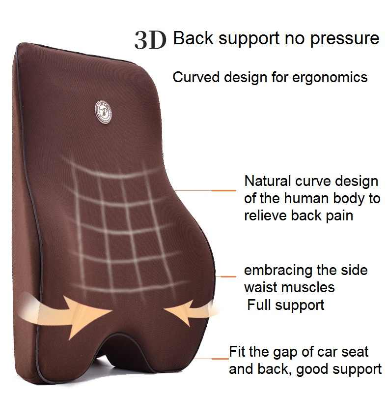 2 יח'\סט רכב כרית מושב תומך המותני כרית משרד כיסא בד לנשימה זיכרון קצף להקל על נהג כאבי גב שחור