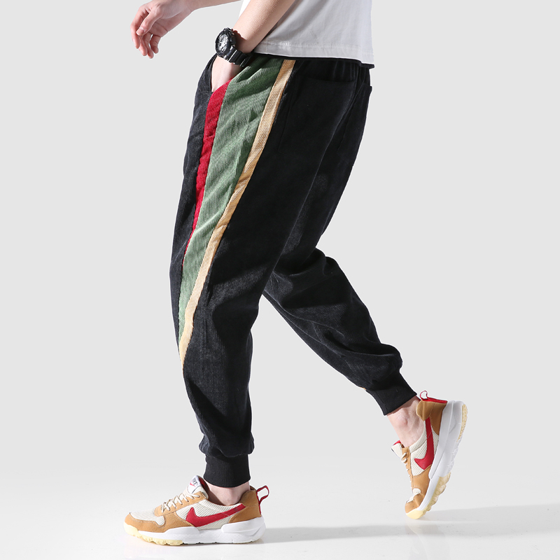 Corduroy Trousers Slim hip hop Men Casual Pants Streetwear Fashions Jogger Pants Korean Style Clothes Loose Stitching Harem Pant