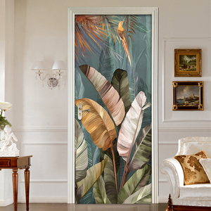 3D DIY Self-adhesive Door Sticker Plant Banana Leaf Bedroom Poster Door Mural PVC Waterproof Removable Art Vinyl Wallpaper Roll
