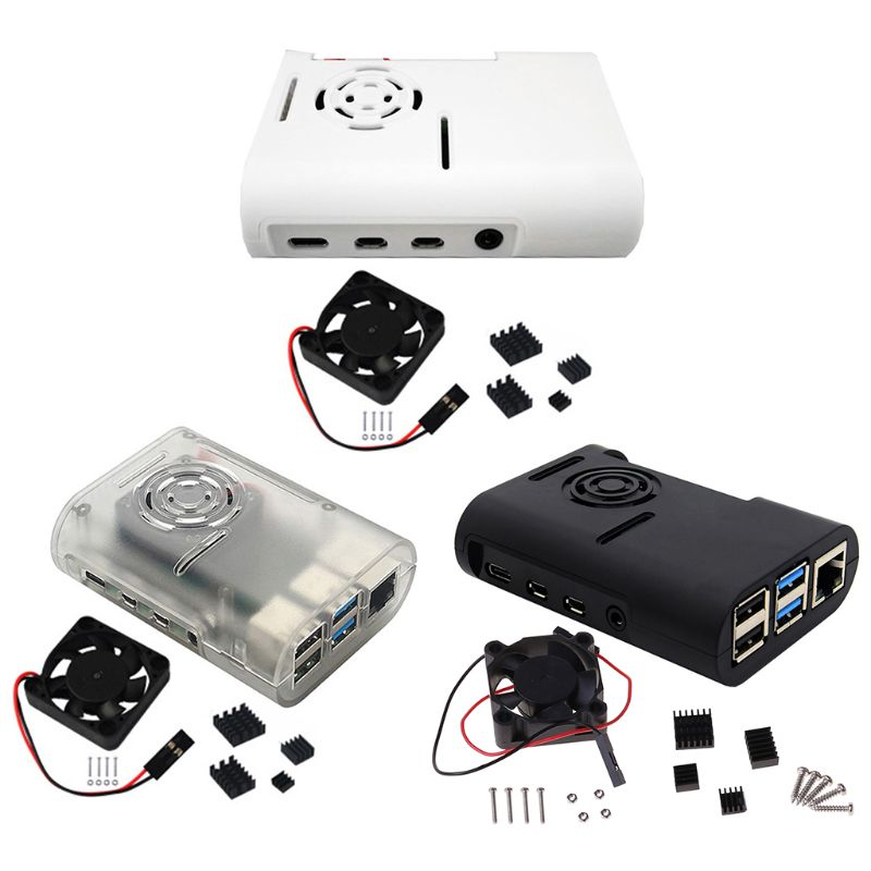 1 PC ABS Plastic Case Protective Cover Enclosure with Cooling Fan <font><b>Heatsinks</b></font> for <font><b>Raspberry</b></font> <font><b>Pi</b></font> <font><b>4</b></font> <font><b>Model</b></font> <font><b>B</b></font> Kit Accessories image