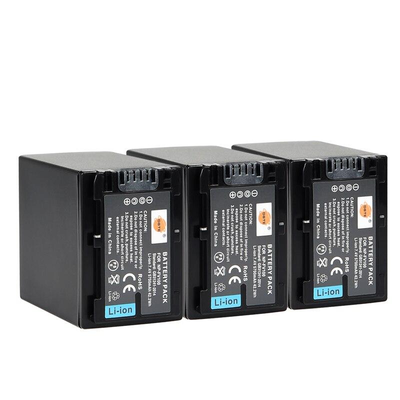3 pièces 5700mAh 7.4V DSTE NP-FV100 Numérique DSLR Caméra Batterie pour Sony PJ200E PJ260E PJ600E PJ220E PJ580E PJ760E PJ820E PJ610E