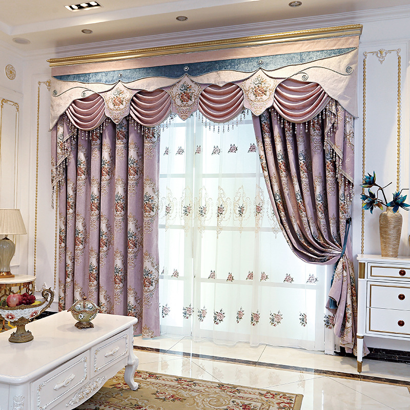 European Luxury High-grade Chenille Jacquard Shade Curtains For Living Dining Room Bedroom.