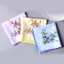 5 Pcs 30*30 cm Vintage Cotton Women Hankies Embroidered Butterfly Flower Hanky Floral Ladies Handkerchief Fabrics Random color