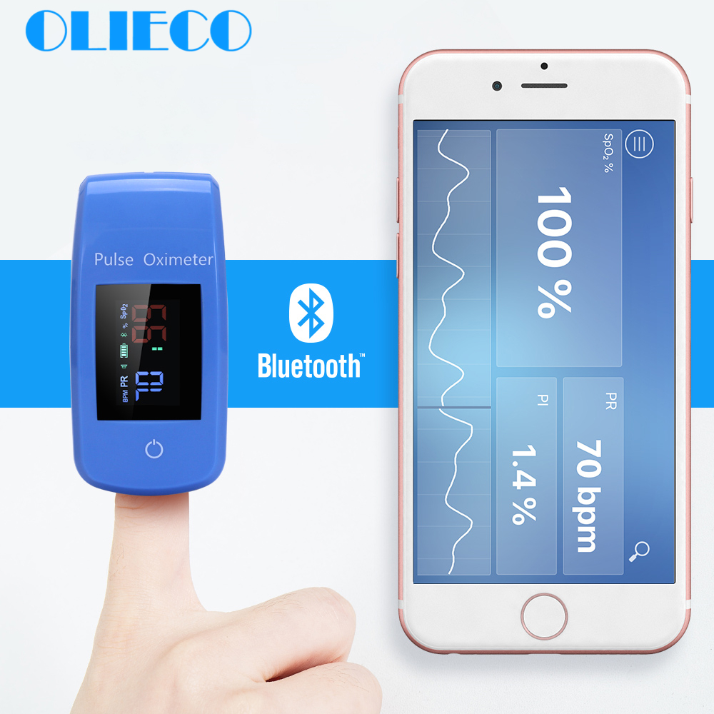 Finger Bluetooth APP Pulse Oximeter Medical Household Digital Oxygen Saturation Meter Portable Mini Finger SPO2 PR Oximetro CE