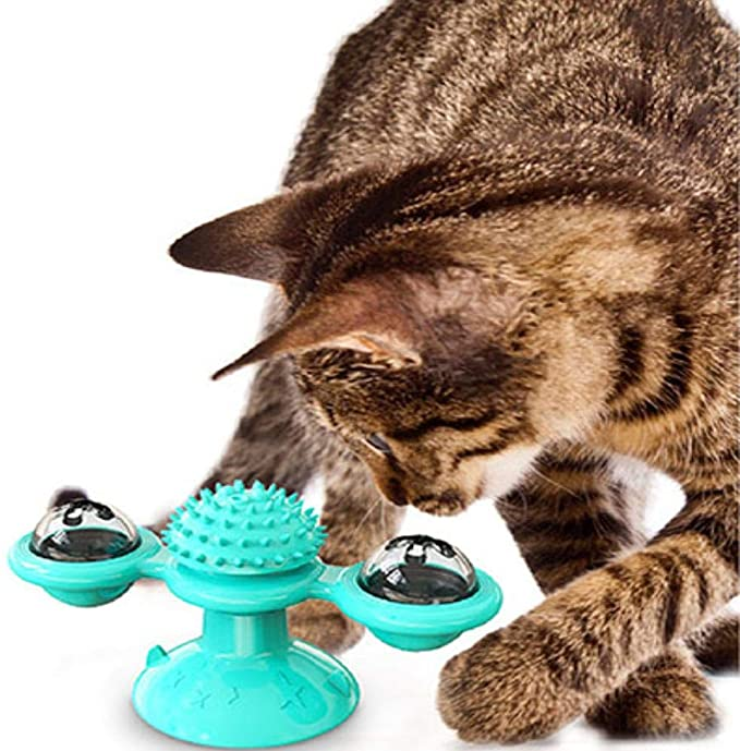 Interactive Cat Toy Windmill Portable Scratch Hair Brush Grooming Shedding Massage Suction Cup Catnip Cats Puzzle Training Toy 6