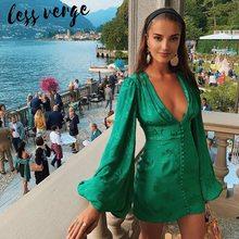 Lessverge cetim seda floral lanterna manga verde profundo decote em v botton cintura alta elegante mini vintage vestidos de festa do sexo feminino clube