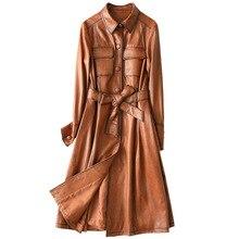 Kış klasik ince uzun koyun derisi kadın hakiki DERİ CEKETLER yüksek kalite tam kollu ceket Sashes cepler karamel dış giyim