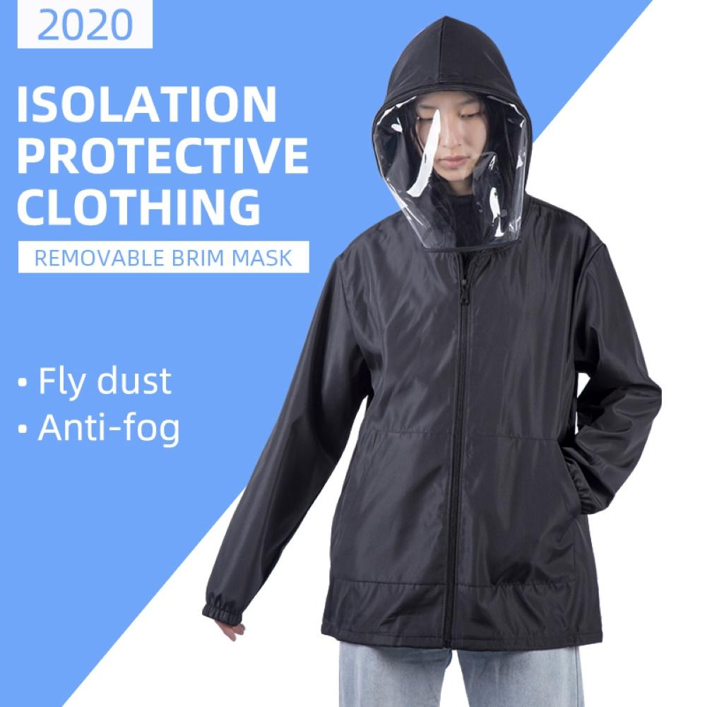 Anti Pollution Virus, Bacteria, Washable, Reusable,Rainproof Protective Clothing, Isolation Clothing Jacket Hat Removable Mask