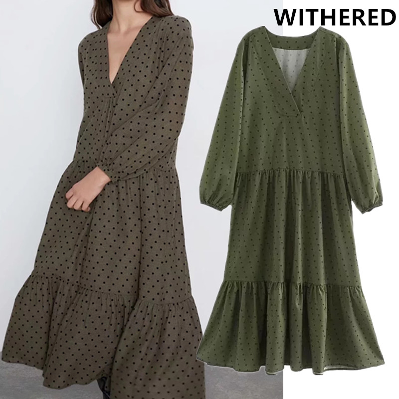 Withered England Style Elegant Polka Dot Printing V-neck Loose Midi Long Dress Women Vestidos De Fiesta De Noche Vestidos Blazer