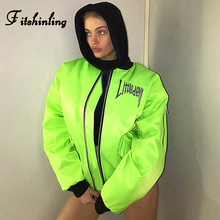 Fitshinling Neon Green Coat Female Jacket Autumn Winter BF Style Outerw