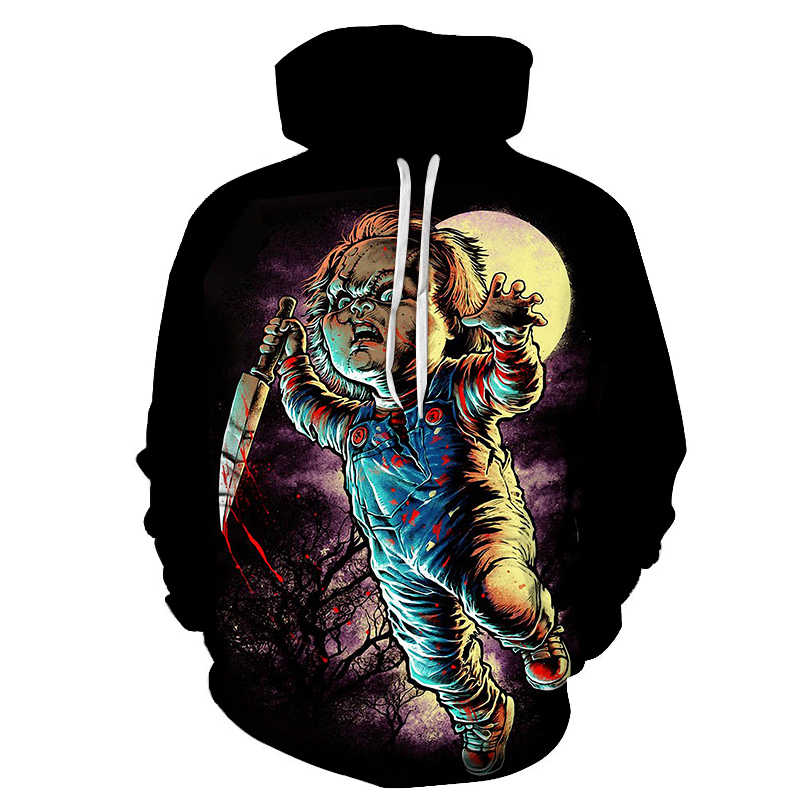 Nieuwe de horror movie rollenspel pop Chucky Mode mannen hoodie 3D gedrukt clown casual paar hooded sweatshirt trui
