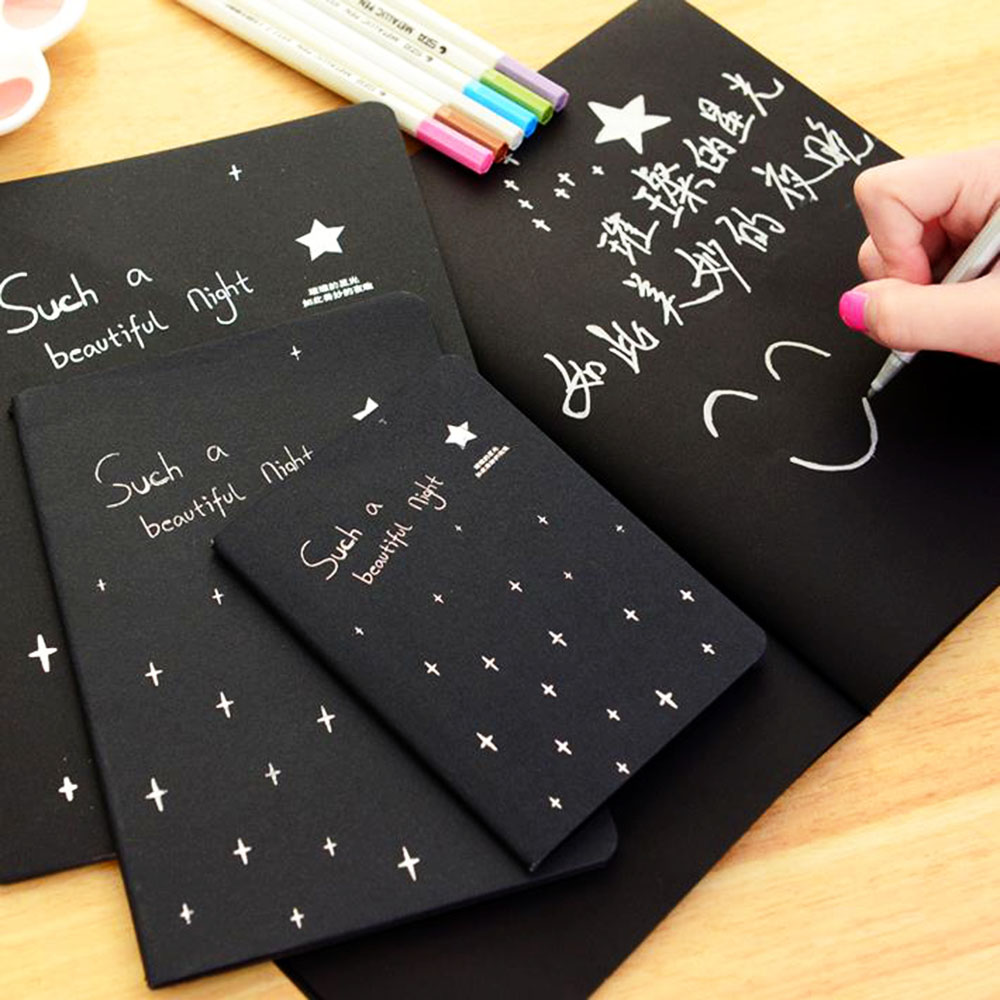 3 Sizes Fashion Sketchbook Diary For Drawing Painting Graffiti Cover Black Paper Black Notepad Sketch Book Hot Sale New Arrival