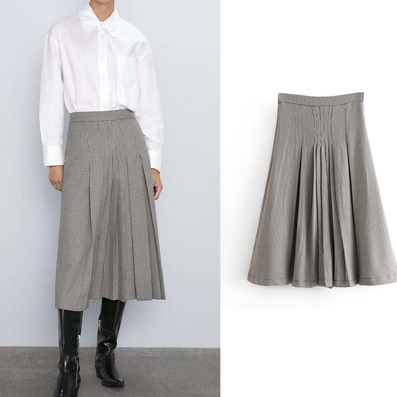 fashion jupe femme za a-line high waist houndstooth pleated skirt side zipper midi skirt  faldas mujer moda 2019