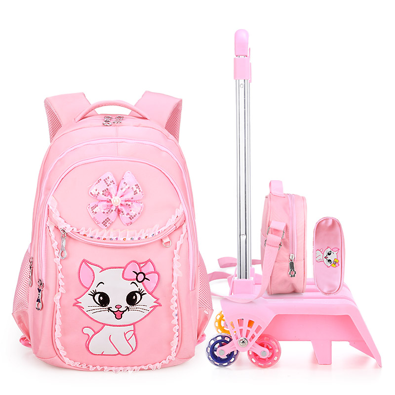 kids Student School bag/SET On wheels Children School Rolling backpacks for Children shoulder bag for Girls school Trolley bags title=