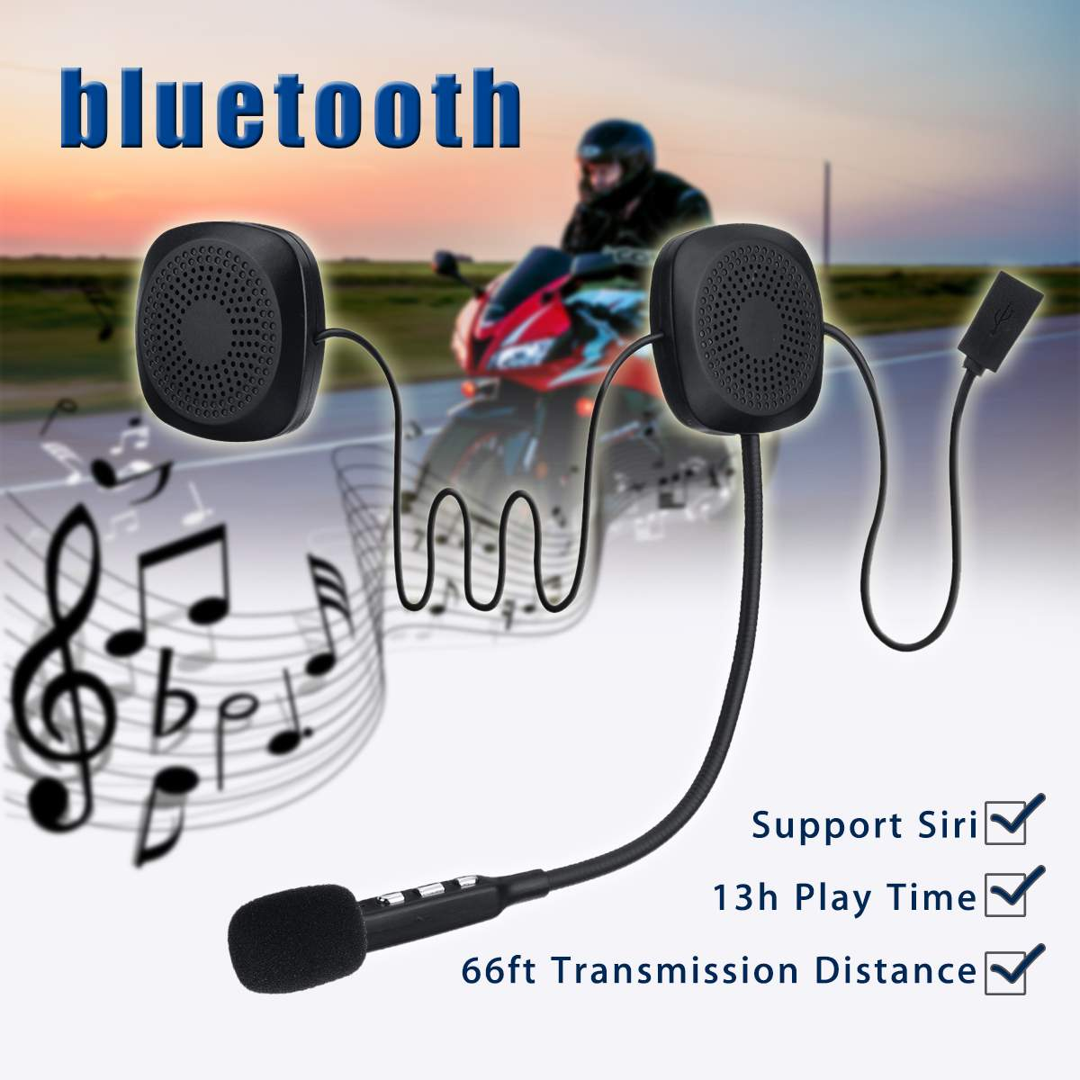 50M Waterproof Moto bluetooth Wireless Anti-interference Helmet Headset Hands Free bluetooth V4.2 Intercom for Motorcycle