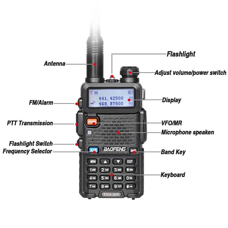 band digital 2pcs Baofeng DM-5R Walkie Talkie Tier1 & 2 DMR Radio Digital Analog Dual Mode Dual Time Slot Dual Band Walky Talky Professional (2)