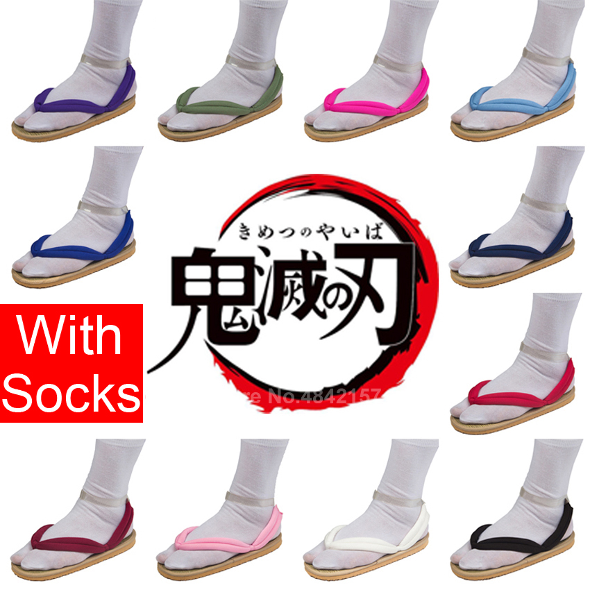 Demon Slayer: Kimetsu No Yaiba Anime Cosplay Shoes For Men Women Carnival Japanese Wooden Geta Clogs Kamado Tanjirou Nezuko