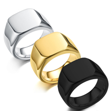 316L Stainless Steel Signet Big Ring High Polished Square Black Ring Men Women Fashion  Jewelry Bague Homme Acier Inoxydable wholesale men s high polished signet solid stainless steel man ring 316l stainless steel biker ring for men