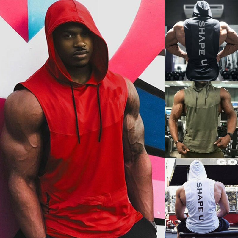 Mens Muscle Hoodie Tank Top Bodybuilding Gym Workout Sleeveless Vest T-shirt