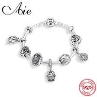 100% Real 925 Sterling Silver Bracelets for Women Crown pendant Heart shape charms Snake Chain Bracelet Friendship Femme Jewerly