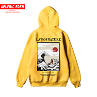Aelfric Eden Japanese Fleece Hoodies Embroidery Funny Cat Wave Printed Winter Japan Style Hip Hop Casual Sweatshirts Streetwear