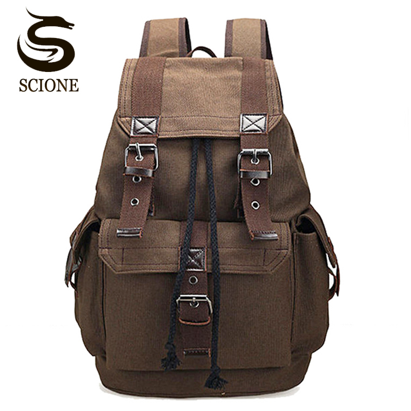 Scione Canvas Men's Backpack School Rucksack Men Drawstring Backpacks Women Travel Shoulder Bagpack Teenagers Laptop Back Pack