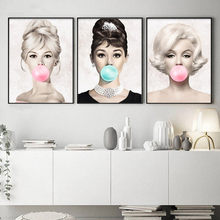 Famosa Estrela 5 Diamante 5DDIY Pintura Audrey Hepburn Marilyn Monroe Bubble Gum Diamante do ponto da Cruz do Bordado Arte Da Parede decor C1531(China)