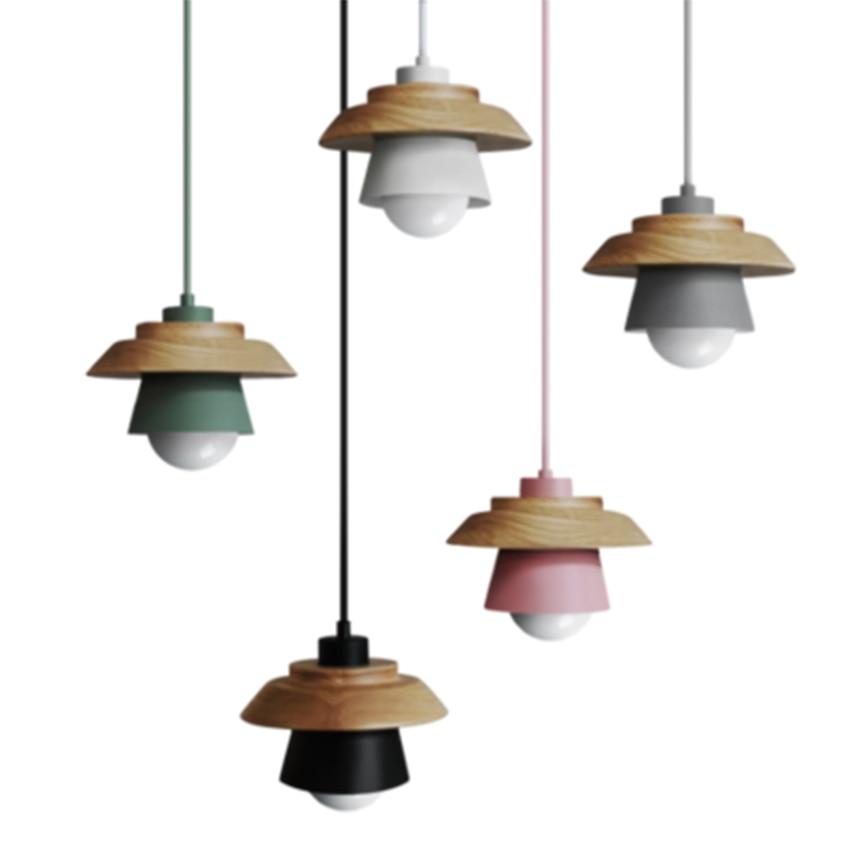 Nordic Modern Minimalist LED Wood Pendant Lights Iron Pendant Lamps Restaurant Corridor Aisle Hanging Lamps Home Decor Lighting