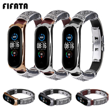 FIFATA Reto Style Leather Butterfly Buckle Watch Band For Xiaomi Mi Band 5 Smart Bracelet Replacement For Mi Band 4/3 Wristband