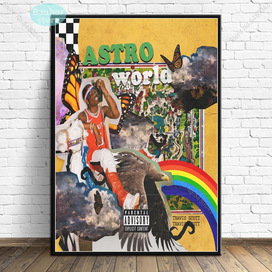 new poster travis scott music star rodeo astroworld album canvas painting posters and prints wall art for living room home decor