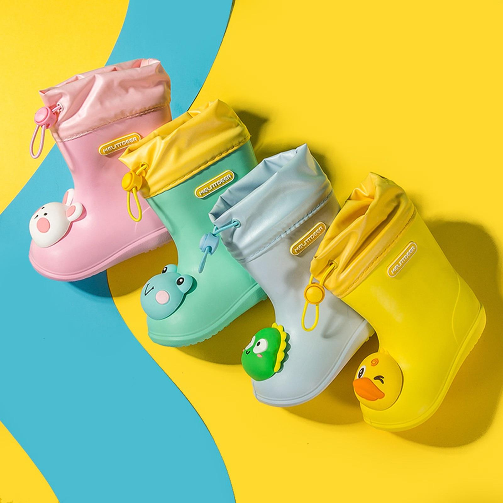 Bota infantil antiderrapante de pvc, calçado impermeável