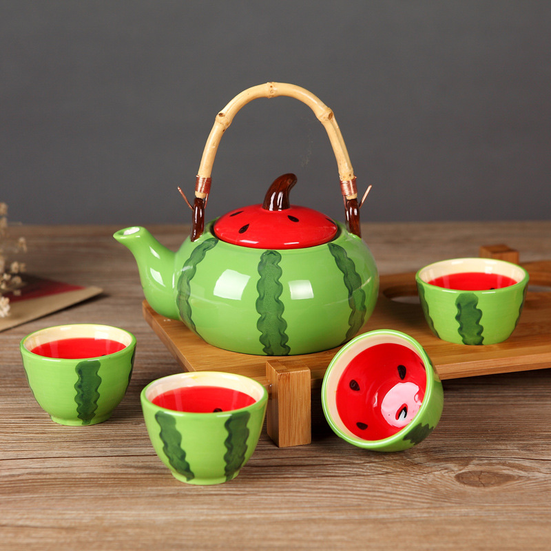 Ceramic Teapot Kettles Tea Cup Fruit Watermelon Tea Set Drinkware Set (One Kettle Four Cups) (No Tray)