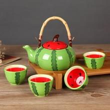 Ceramic Teapot Kettles Tea Cup Watermelon Tea Set Drinkware Set (one pot 4 cups) (No Tray)