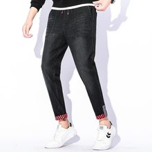 Men Boutique Stretch Casual Classic Jeans Skinny Denim Side Bag Fashion Draw rope Tie Button Foot Fit Trousers