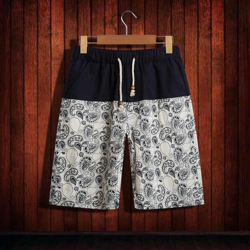2020 mężczyźni drukowanie elastyczny sznurek do ściągania talii wygodne szorty bawełniana pościel wysokiej jakości w stylu chińskim krótkie spodnie plażowe lato luźne