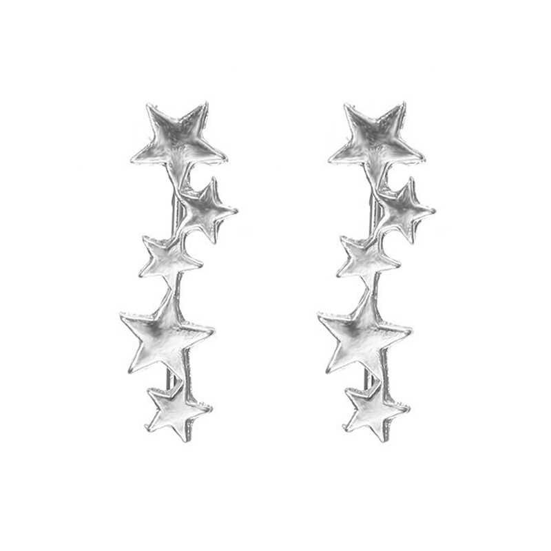 כוכב עגילי מטפס זעיר כוכב ירח Stud עגילים לנשים יומיומי Teen Mothersday שמיימי מתנת יום הולדת תכשיטים