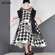 여성을위한 XITAO 도트 스플 라이스 메쉬 리벳 미디 드레스 특대 여름 짧은 소매 섹시한 여성 플러스 사이즈 드레스 패션 2019 DLL3570